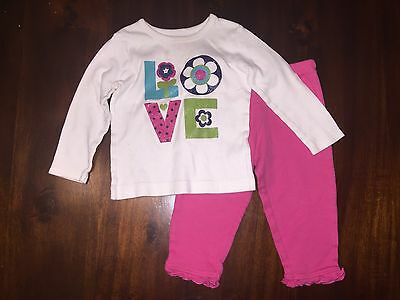 Carter's Baby Girl 12 Months 2 Piece Outfit Long Sleeve Shirt Leggings Pink Love