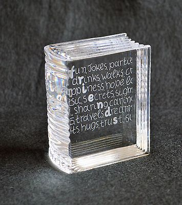 """Stuart Crystal Art Glass Book Paperweight with Engraved """"Friends""""  Mint No Box"""