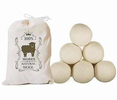 Wool Dryer Balls  6 Pack  MorexLab - 100% Virgin New Zealand Wool