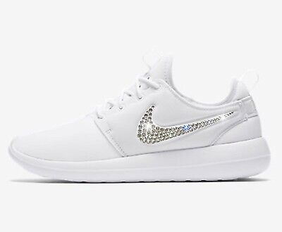 0f3bb616 Bling Nike Roshe Two Women's Shoes w/ Swarovski Crystal Bedazzled Swoosh  White