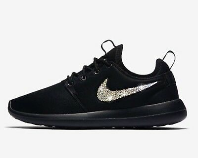 low priced 802c2 b32cd Bling Nike Roshe Two Shoes w Swarovski Crystals  Black  with Bedazzled  Swoosh