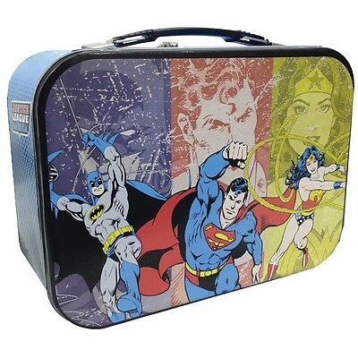 Superman, Batman, And Wonder Woman Super Friends Collectable Tin Metal Lunch Box