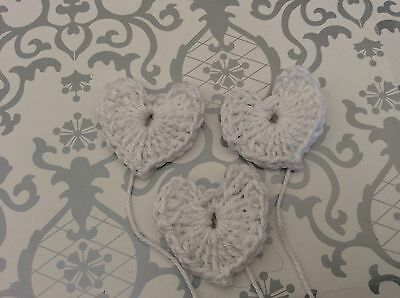 3 WHITE CROCHET HEARTS 100%cotton - great embellishments /scrapbooking