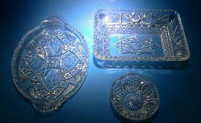 3 vintage clear cut glass dishes
