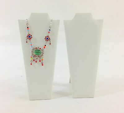 """2pc White Leatherette Necklace Easel Stand Jewelry Showcase Display 9""""H"""