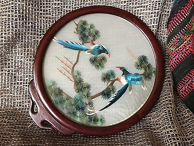 Old Chinese Embordered Birds in Rosewood Frame  …beautiful display piece