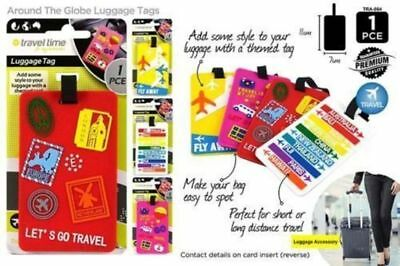 4 Assorted Travel Luggage Bag Tag Name Address ID Label Suitcase Baggage Tags