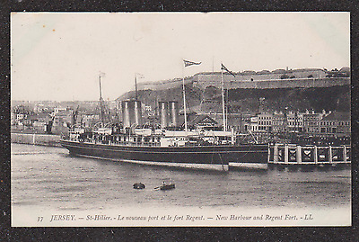 1909 Jersey Ll Louis Levy Postcard Ships St Helier New Harbour And Regent Fort