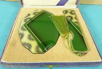 Beautiful Japanese Art Deco Enamel Compact & Cased Comb Fitted Box Ca 1950