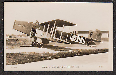 1930 French Air Liner Liore & Olivier 21 Leaving Croydon Airport Rp Postcard