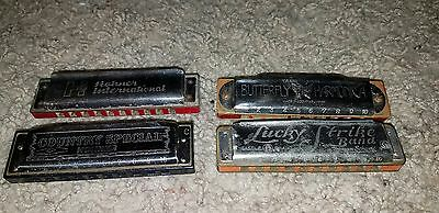 Vintage Harmonica Lot of 4  Rare Hohner International, Country Special, Lucky