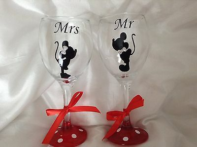 Minnie & Micky  Wine Glasses Disney Wedding, Perfect Gift For Bride And Groom