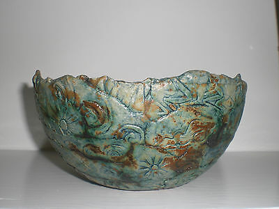 Studio Pottery Bowl Carved with Lovely Artistic Symbols