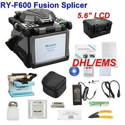 "New 5.6"" LCD RY-F600 Fusion Splicer With Optical Fiber Cleaver Automatic Focus"