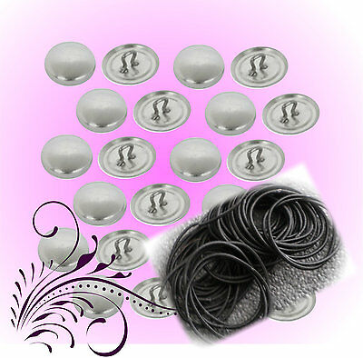 50 Hair Tie Kit  Self Cover Buttons 23mm Kit DIY opt Tools - Buttons made in USA