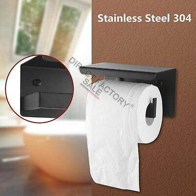 Toilet Paper Roll Holder Wall Mounted Black SS304 Storage Hanger Cover Shelf NEW