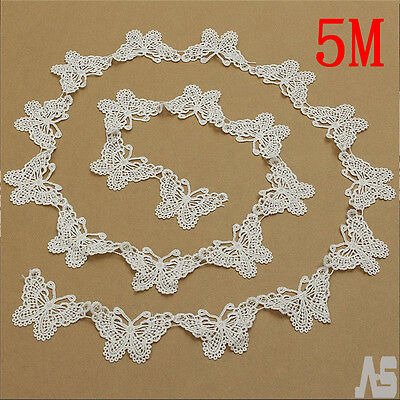 5M Vintage White Butterfly Lace Edge Trim Ribbon Applique DIY Sewing Crafts UK
