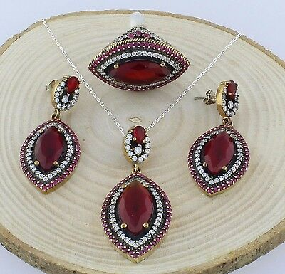 Ottoman Hurrem Sultan Turkish Silver Set Ring Earrings Pendant with Ruby Stone