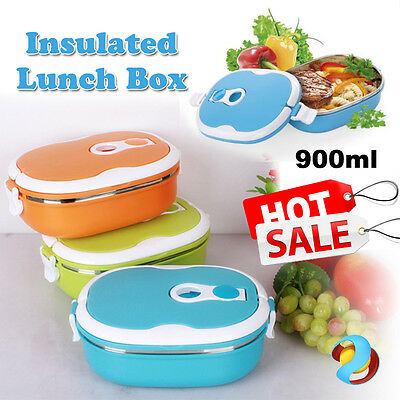 900ML Stainless Steel Thermo Thermal Insulated Lunch Box Food Picnic Container