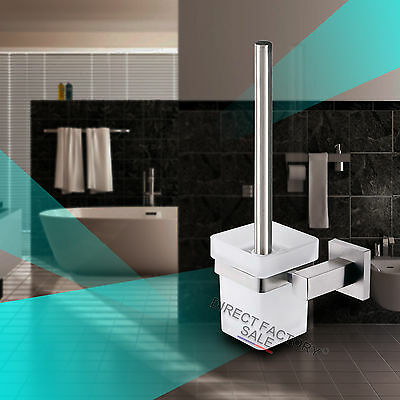 Toilet Brush Holder SET Square Glass Cup Wall Mounted Cleaning Tool Bathroom NEW
