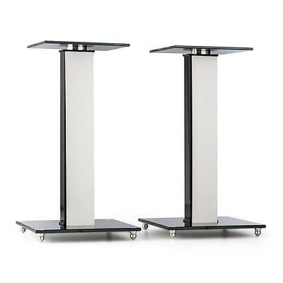 Auna Speaker Stands Aluminium Glass Mdf Cable Duct Incl. Spikes Stable Strong
