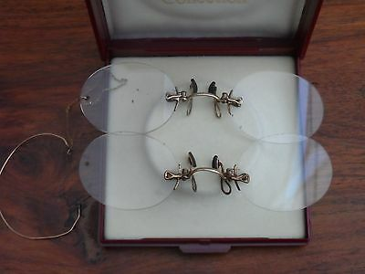 Lovely x2 PAIRS Of ANTIQUE Victorian Rolled GOLD? PINZ NEZ SPECTACLES