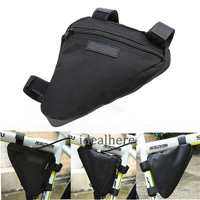 Triangle Cycling Bike Bicycle Front Tube Frame Pouch Saddle Bag Case Black