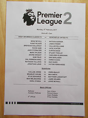 West Bromwich Albion V Newcastle United U23 Official Teamsheet 6 February 2017