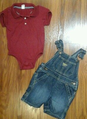 Girls 2pc outfit overalls ,bodysuit shirt size 18-24 months