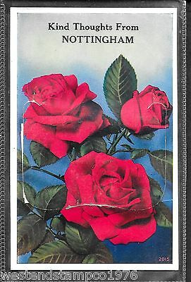 Nottinghamshire Ppc Novelty Pull-Out Red Roses. Unposted