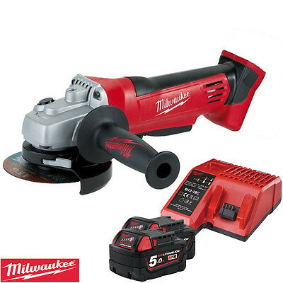 Milwaukee HD18AG-0 18v 115mm Angle Grinder With 2 x 5Ah Batteries & Charger