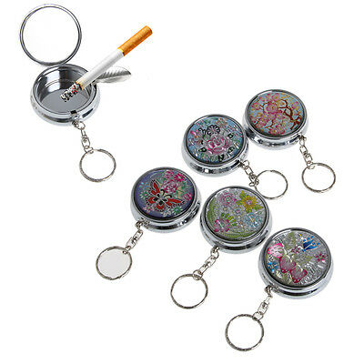 Portable Stainless Steel Pocket Round Cigarette Ashtray Keychain Keyring