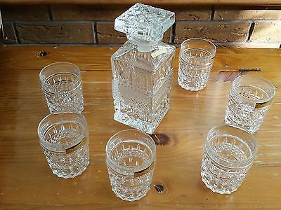 Bohemian Crystal Whiskey Decanter with 6 Whiskey Glasses, NEW in box