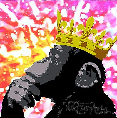 Nik Tod Recreated From Original Painting Large Signed Art Thinker Monkey Crown