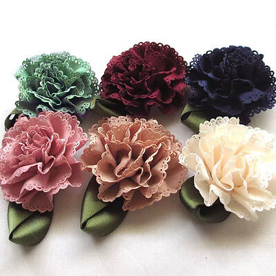 6pcs Carnation Fabric Ribbon Flowers Bows Appliques Wedding Decor Craft #527