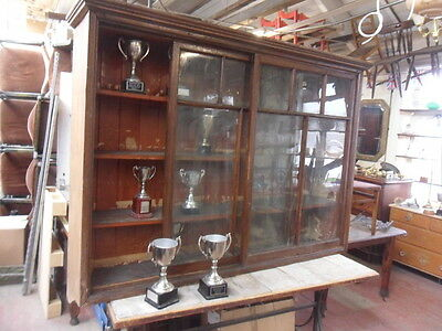 large original glazed wall hanging trophy cabinet antique bookcase club display