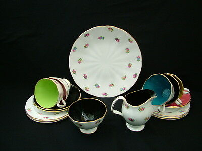 """Adderley Bone China """"Floral"""" pattern harlequin part teaset with small flowers"""