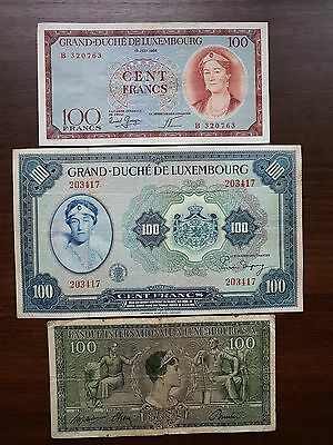 Luxembourg 100 francs lot banknote