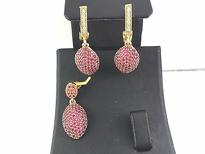 925 Sterling Silver Turkish Handmade Jewelry / Pave Red Ruby Earring - Pendant