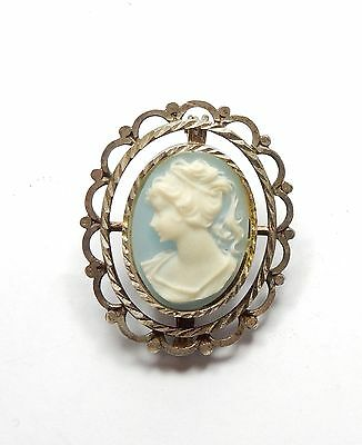 Vintage 800 Silver Blue Cameo Lady Oval Pin Brooch 3.7g