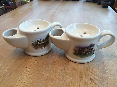 Two Wade Shaving Mugs - 'Her Majesty' and 'Steam Coach'.