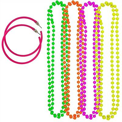 Pack Of 4 Neon Necklace Beads Hoop Earrings Hen Party Festival 1980's Jewellery