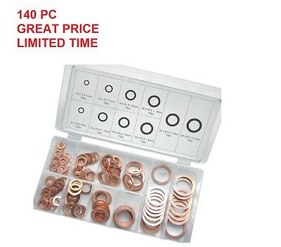 Solid Copper Washers Sump Plug Engine Washer Set Metric 8mm – 24mm 140pc