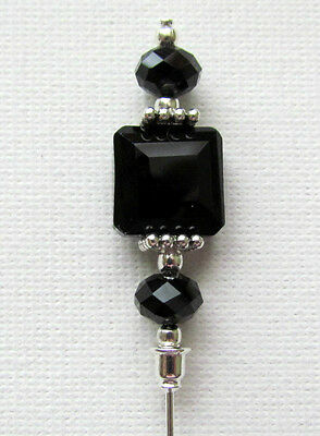 """BLACK CRYSTAL Hat Pin Vintage Antique Tibetan Silver Style 6"""" + Pin Protector"""