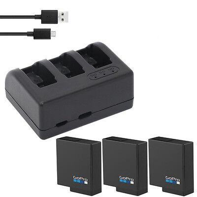 Original 1220mAh Li-ion Battery + triple charger for Gopro Hero 5 Action Camera