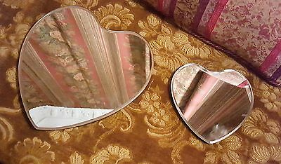 Lovely pretty Art Deco vintage wall heart mirror set of 2