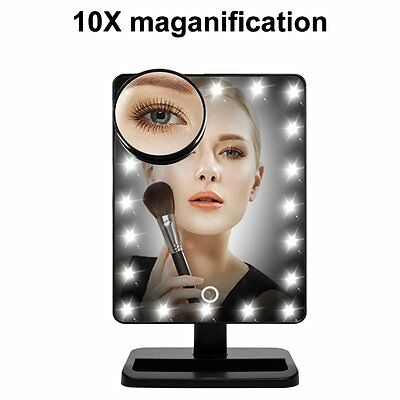 10 x Magnifying Touch LED Light Make Up Cosmetic Tabletop hollywood Mirror