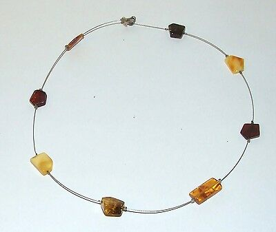 Quality Vintage Baltic Amber On Wire Necklace With 925 Silver Fasten