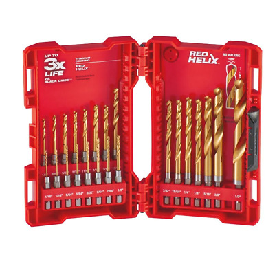 Milwaukee 48-89-4631 23 Piece Shockwave Impact Duty Titanium Drill Bits with Red