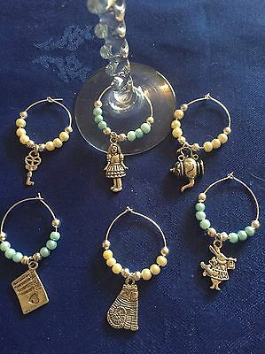 Set Of Alice In Wonderland Themed Wine Glass Charms Party/Birthday/Present